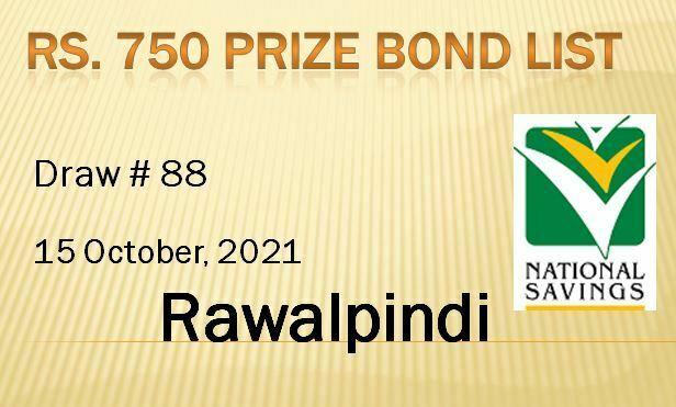 Rs. 750 Prize Bond List, Draw 88, 15-10-2021 Rawalpindi online Results